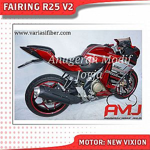 New Vixion Modifikasi Ala R25 Red Metallica